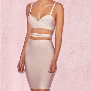 Nude Wrap Waist Bandage Dress